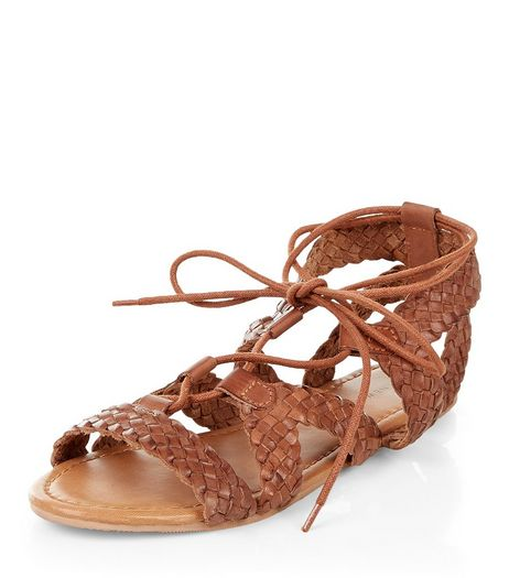 Tan Leather Plaited Ghillie Sandals  | New Look