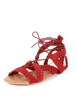 Red Leather Plaited Ghillie Sandals  | New Look