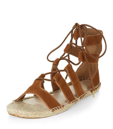 Tan Suede Ghillie Espadrilles | New Look