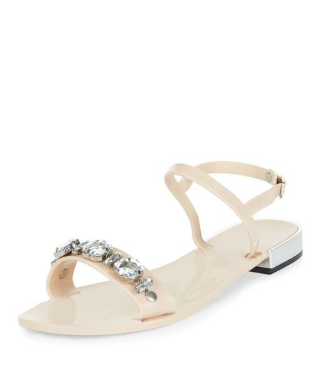 Stone Crystal Strap Jelly Sandals | New Look