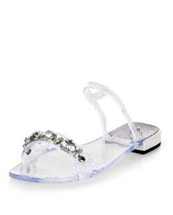 Silver Embellished Jelly Sandals | New Look