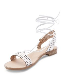White Laser Cut Out Ghillie Sandals | New Look