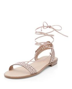 Stone Laser Cut Out Ghillie Sandals  | New Look