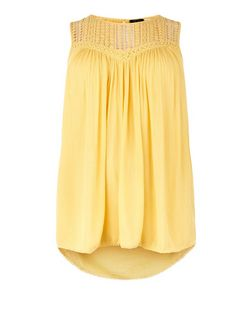 Curves Yellow Crochet Trim Shell Top | New Look