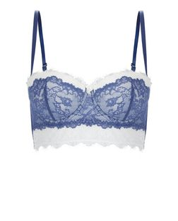 Blue Contrast Lace Longline Bra | New Look