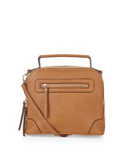 Tan Zip Around Mini Bowler Bag  | New Look