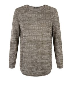 Khaki Jacquard Long Sleeve Top  | New Look