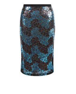 Cutie Blue Zig Zag Print Sequin Pencil Skirt | New Look