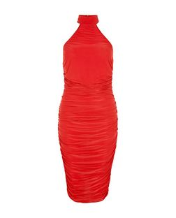 AX Paris Red Ruched High Neck Dress | New Look