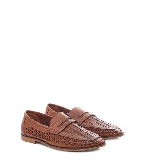 Tan Leather-Look Woven Loafers | New Look