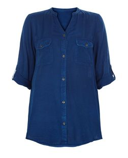 Brave Soul Blue 1/2 Sleeve Denim Shirt | New Look