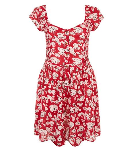 Brave Soul Red Floral Print Button Front Dress | New Look