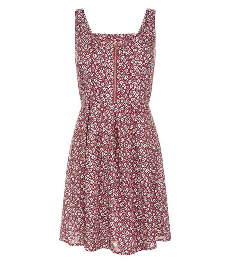 Brave Soul Red Floral Print Zip Front Dress | New Look