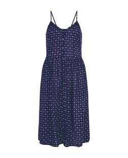 Brave Soul Blue Spot Print Midi Dress | New Look