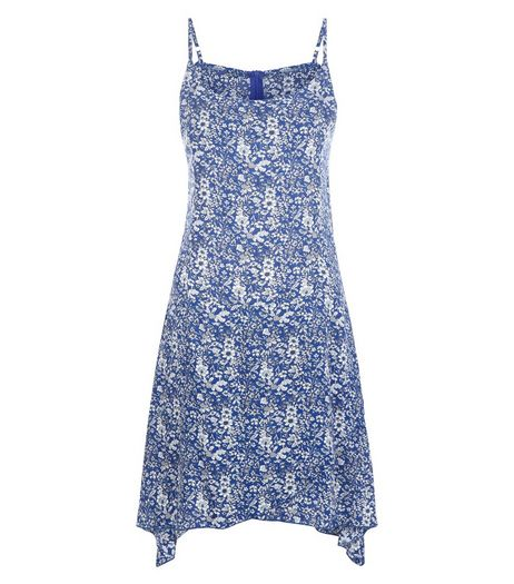 Brave Soul Blue Floral Print Hanky Hem Dress | New Look