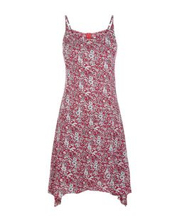 Brave Soul Pink Floral Print Hanky Hem Dress | New Look