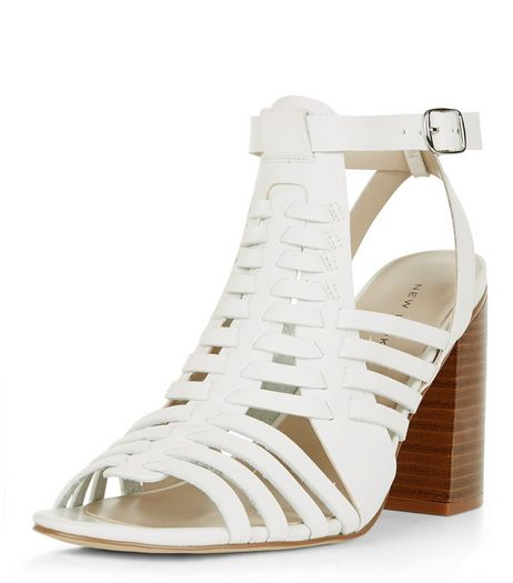 White Woven Peep Toe Block Heel Sandals  | New Look