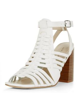 White Woven Peeptoe Block Heel Sandals  | New Look
