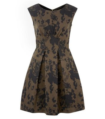 Closet Khaki Camouflage Print Box Pleat Dress