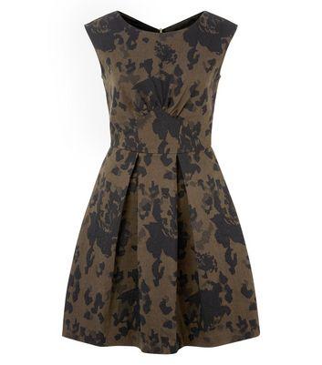 closet-khaki-camouflage-print-box-pleat-dress