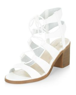 White Faux Leather Ghillie Block Heels | New Look