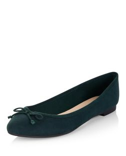 Dark Green Suedette Ballet Pumps  | New Look