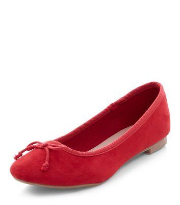 red-suedette-ballet-pumps