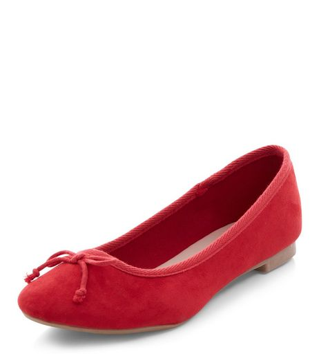 Red Suedette Ballet Pumps  | New Look
