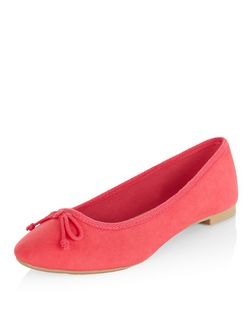 Bright Pink Suedette Ballet Pumps | New Look