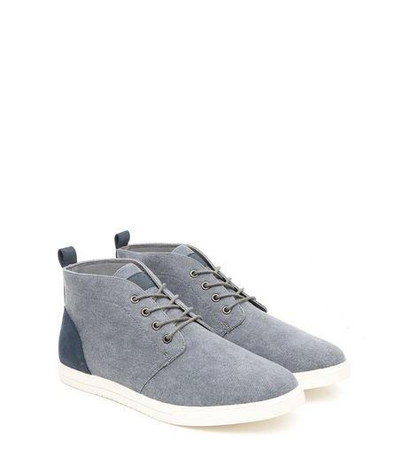 Blue Canvas Chukka Boots | New Look