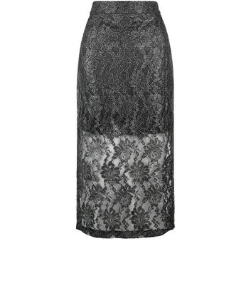 Gonna  donna Jumpo Silver Lace Pencil Skirt