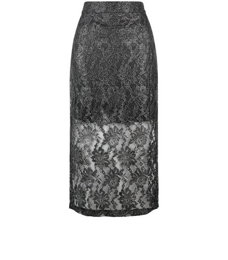 Jumpo Silver Lace Pencil Skirt | New Look