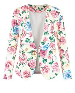 Jumpo Pink Floral Print Blazer | New Look