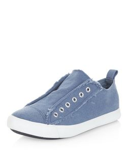 Blue Fray Trim Laceless Plimsolls  | New Look