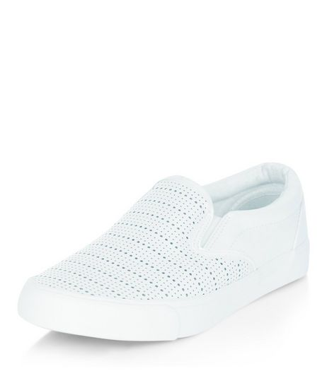 White Perforated Slip On Plimsolls  | New Look