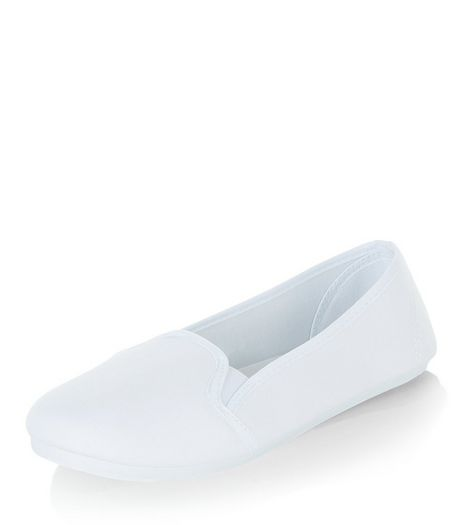 White Canvas Slip On Plimsolls  | New Look