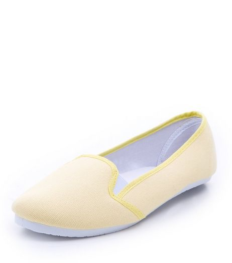 Light Yellow Canvas Slip On Plimsolls  | New Look