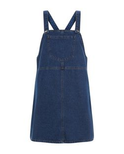 Blue Denim Pinafore Dress  | New Look