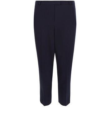 Navy Cropped Slim Leg Trousers