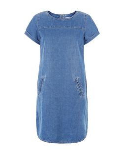 Blue Denim Roll Sleeve Tunic Dress  | New Look