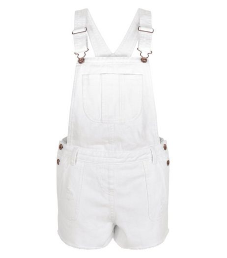 White Denim Short Dunagrees | New Look
