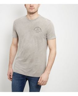 Grey Acid Wash Slogan T-Shirt  | New Look
