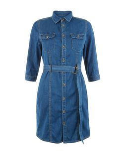 Petite Blue D-Ring Belted Denim Shirt Dress | New Look