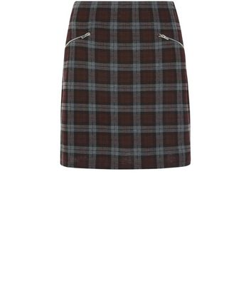 red-check-double-zip-a-line-skirt