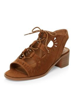 Teens Tan Laser Cut Out Ghillie Heels  | New Look