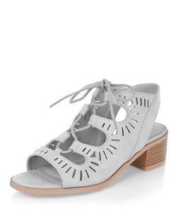 Teens Pale Blue Laser Cut Out Ghillie Heels | New Look