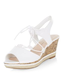 Teens White Lace Up Leather-Look Wedges  | New Look