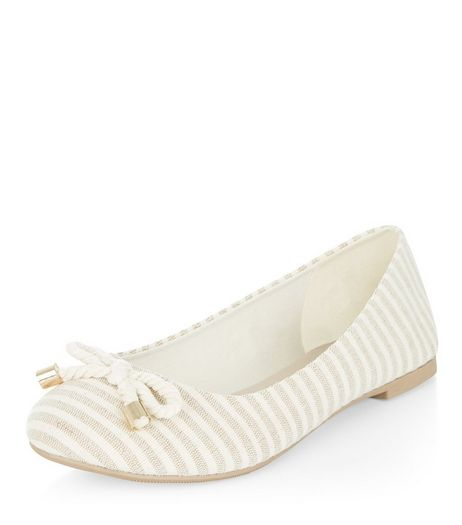 Teens Cream Stripe Canvas Ballet Pumps  | New Look