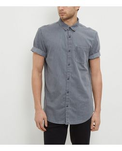 Grey Denim Single Pocket Roll Sleeve Shirt  | New Look