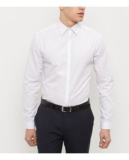 White Collared Long Sleeve Shirt  | New Look